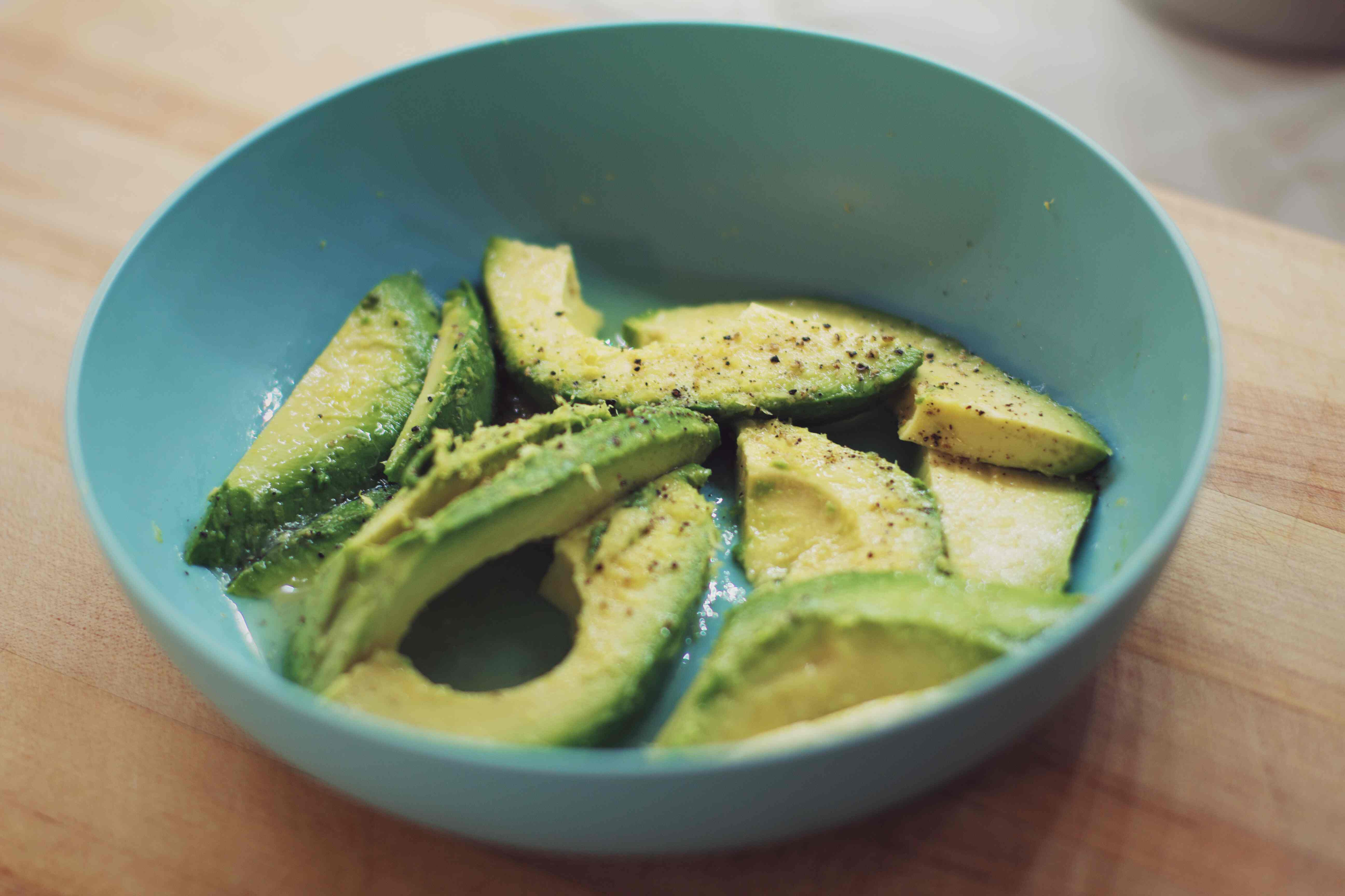 bowl with sliced avocado