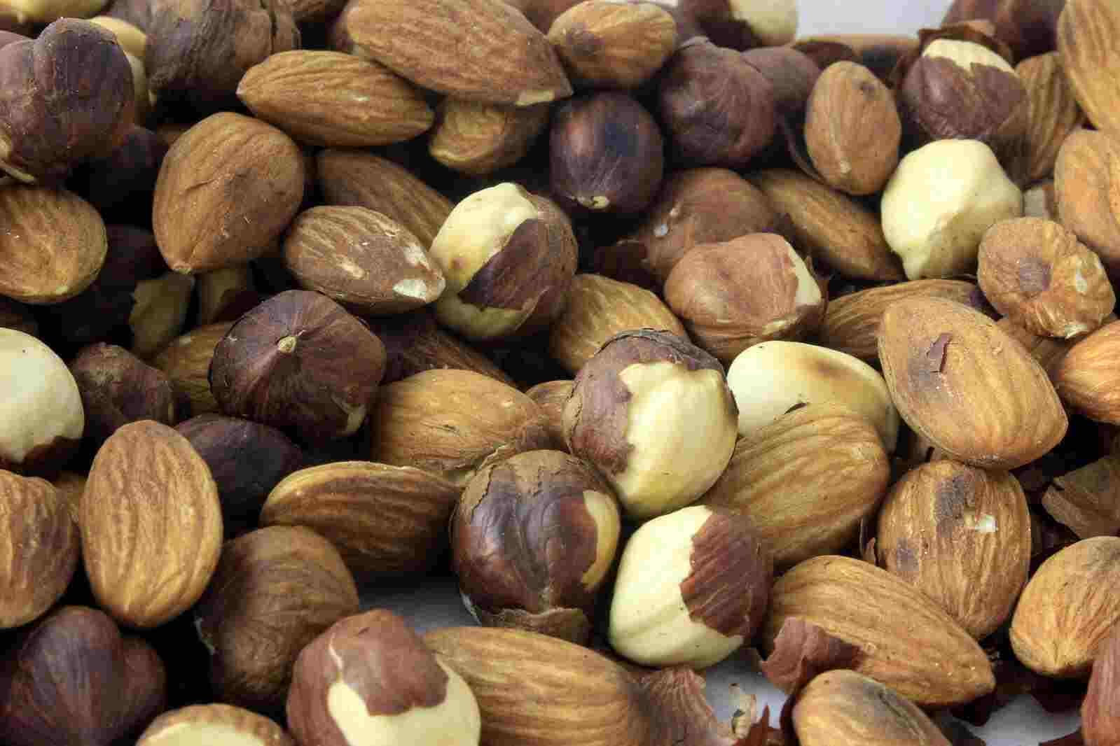 various nuts, including hazelnuts and almonds